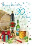 30th Birthday Card - Male Beer - Glitter - Regal