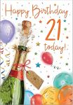 21st Birthday Card - Male Champagne - Glitter - Regal