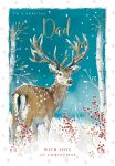 Christmas Card - Dad Stag - Silver Birch Glittered - The Wildlife Ling Design