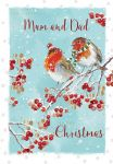 Christmas Card - Mum & Dad - Robin - Glittered - The Wildlife Ling Design