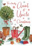 Christmas Card - Aunt & Uncle - Watering Can Wellies - Glittered - Regal