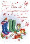 Christmas Card - Son & Daughter in Law - Wellies - Glittered - Regal