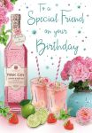 Birthday Card - Special Friend - Pink Gin - Glitter - Regal