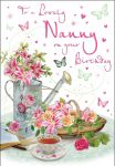 Birthday Card - Nanny - Watering Can Flowers - Glitter - Regal