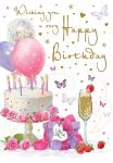 Birthday Card - Wishing You - Cake Balloons Present - Glitter - Regal