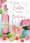 Birthday Card - Lovely Sister - Pink Gin - Glitter - Regal