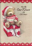 For the One I Love Bear & Present  - Christmas Card