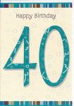 40th Birthday Card - Male - Blue