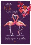 Birthday Card - Wife - Flamingo - The Wildlife Ling Design