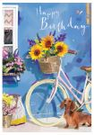 Birthday Card - Bicycle Dachshund Sunflowers - At Home Ling Design