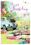 Birthday Card - Picnic Time Fiat 500 - At Home Ling Design