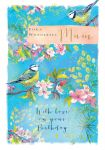 Birthday Card Deluxe Large - Mum - Blue Tits - Glitter - Ling Design