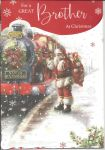 Christmas Card - Brother - Santa Express Train - 3 Fold Glitter - Out of the Blue