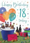 18th Birthday Card - Male Beer & Presents - Glitter - Regal