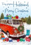 Christmas Card - Husband - Campervan - Glittered - Regal