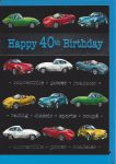 40th Birthday Card - Male - Sports Cars Black