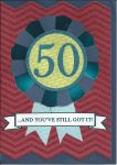 50th Birthday Card - Male - Rosette Glitter