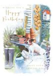 Birthday Card - Male - A Day In The Garden- Dog - At Home Ling Design