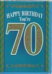 70th Birthday Card - Male - Blue Glitter You're 70