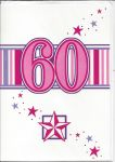 60th Birthday Card - Female - 60 Pink Star