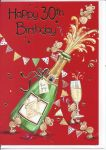 30th Birthday Card - Male Red Champagne