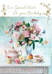 Birthday Card - Aunt - Beautiful Flowers - At Home Ling Design