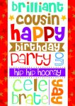 Birthday Card - Cousin - Bright Hulla Balloo - Ling Design