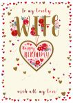 Birthday Card Large Deluxe - Wife - Heart Tassel - 3D Glitter - Talking Pictures