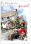 Birthday Card - Grandad - Red Tractor - Glitter Out of the Blue