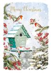 Christmas Card - Xmas in the Garden - Robins - At Home Ling Design