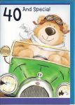 40th Birthday Card - Male - Bear in a Car