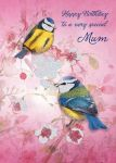 Birthday Card - Mum - Crystal Blue Tits Birds - Glitter - Ling Design