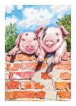 Birthday Card - Farm Pigs Spotted Trotters - Country Cards