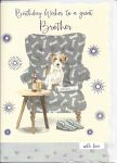 Birthday Card - Brother - Dog - Terrier & Armchair - Out of the Blue