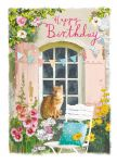 Birthday Card - Garden Musings - Ginger Cat - At Home Ling Design