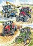 Birthday Card - Tractors - John Deere Massey New Holland Country Cards