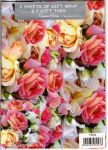 Roses Gift Wrapping Paper Gift Wrap - 2 Sheet & Tags