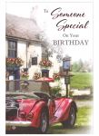 Birthday Card - Someone Special - Red Car & Pub - Sentiments