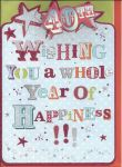 40th Birthday Card - Male Female Whole Year of Happiness Glitter