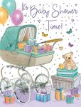 Baby Shower Card - Coach-Built Pram & Teddy