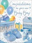 New Baby Boy Card - Blue Booties