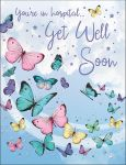 Get Well Soon Card - You're in hospital - Butterfly