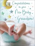 New Baby Boy Grandson Card - Congratulations
