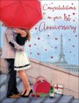 Wedding Anniversary Card - Congratulations on your 1st First Anniversary