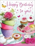 Birthday Card - Female - Tea Cups & Cakes