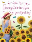 Birthday Card - Daughter In Law Sunflowers - Glitter Regal
