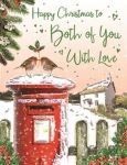 Christmas Card - Both of You - Postbox Robin - Glittered - Regal