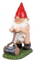 Gnaughty Gnome Naughty Mowing Lawn Ornament Gift - Indoor or Outdoor - Funny