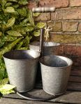 Metal Set of Three Garden Planter Pot with Handle