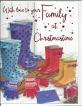 Christmas Card - Family - Wellies - Glittered - Regal